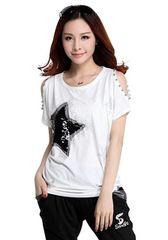 キラキラスター!!半袖スパンコールTシャツ(M寸・白)