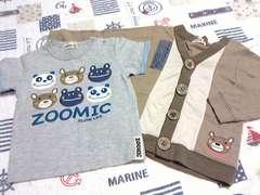 美品ZOOMIC2枚セット長袖カーディガン&半袖Tシャツセットサイズ90�p