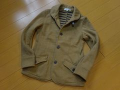 カジュアルテーラードジャケット:ブラウン.Sサイズ