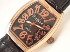 7694/Rumue未使用品ピンクゴールドカラーメンズ腕時計格安出品