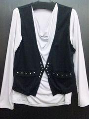 ベスト付き長袖Tシャツ☆M黒×ライトグレー【新品タグ付き】