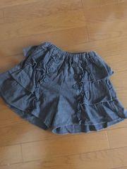140☆三段フリルの可愛いキュロットスカート秋冬物美品