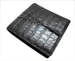 クロコダイル 完全マット 背皮二つ折り財布 ブラック 送無料