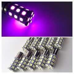 24V用 LED S25 シングル球 27連 10個セット マーカー球 ピンク