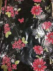 美品浴衣!黒地にピンクの花柄