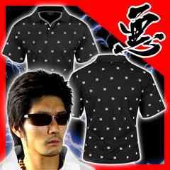 送料無料ヤンキーチンピラオラオラ系総柄半袖ポロシャツ/ホストお兄系服15012黒-L