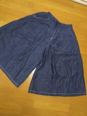 Lサイズ/テンセル スカーチョ ガウチョ/スカート見え/ネイビー
