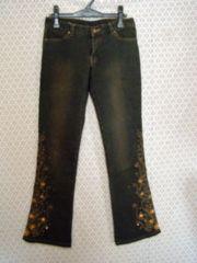 ESPRIMURエスプリミュール*裾花刺繍入デニムジーンズ黒