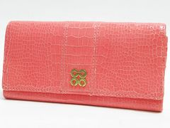COACH コーチ 二つ折り長財布 型押しレザー ピンク オプアート