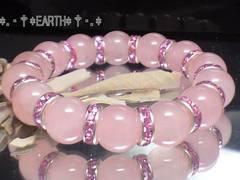 天然石★12ミリ可愛いローズクォーツブレス&ピンクロンデル数珠