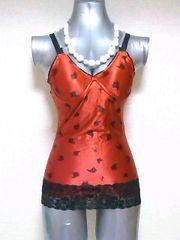 チュチュア光沢サテンスカルクロスBigジップ裾レース胸パッドカップ付きコルセットキャミ赤レッド