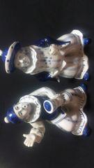 ピエロ風2人の西洋陶器置物