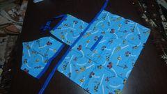 モバオク:子供 ◆ハンドメイド子供用エプロンセット◆水色