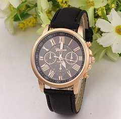 今回限り500円★クロノグラフタイプの腕時計 黒 動作保証付き