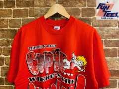 表記L/USA製!80s 90s ビンテージ 赤 キャラクター Tシャツ 古着 アメカジ f&e