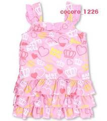 新品BABYDOLL☆ハート&王冠柄 フリル ワンピース水着 120 ピンク ベビードール