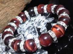 レッドタイガーアイ12ミリ§銀ロンデル赤虎目石数珠