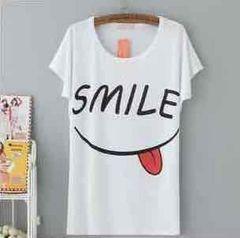 新品★LL3L対応★SMILEプリント柔らかストレッチ半袖Tシャツ★白