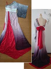 F ロングドレス CREAM レッド 着物風 シルク 高級  新品 J1799