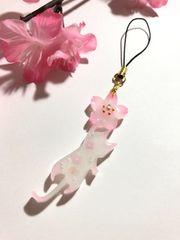 ★桜とネコのレジンストラップ ミルキー ねこ サクラ さくら
