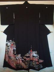 祇園祭山鉾*黒留袖正絹*157チョー美品訳アリ