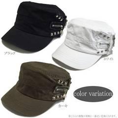 帽子♪スタッズ&ZIP デザイン ワークキャップ ホワイト
