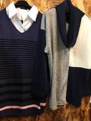 新品☆5L♪シャツ重ね着風ニットなど2枚セットで☆n831