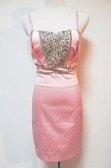 シルバービジューギラギラベビーピンクミニベアワンピドレス