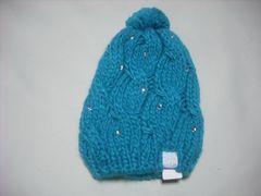 wb559 ROXY ロキシー ボンボン 石付き ニット帽 緑
