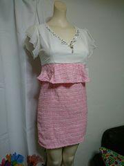 秋冬 白×ピンク シフォンレース ビジューペプラム ミニドレス