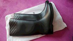 新品!キルティング レインブーツ 黒 L  長靴