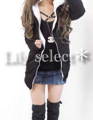 new://大人気完売◆ヘビロテ♪black*内ボアパーカー【L】0878