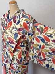 花簪昭和レトロカラフルな花木模様の小紋モダン
