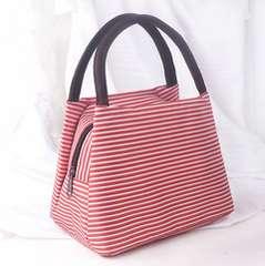 1円新品ボーダー柄デザインミニハンドバッグ赤レッドレディースサブバッグ