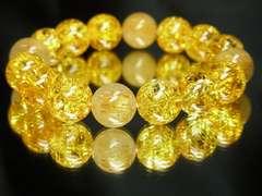 相性抜群 タイチンルチル×シトリンクラックブレスレット 12ミリ数珠パワーストーン