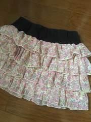 美品☆ハッシュアッシュ130☆花柄フリルシフォンスカート