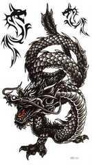 彫ったみたいにリアルなタトゥーシール 龍 ドラゴン2 2枚組 ボディーアートに!