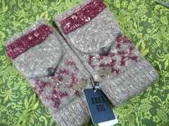 アナスイベージュ霜降りニット手袋