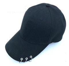 黒 ブラック 男女兼用 3連 リング 付き キャップ