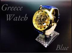 腕時計 メンズ レザー 革ベルト ギリシャ文字 金フレーム 青色