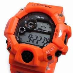 送料無料/XINJIEデジタル腕時計★日本語説明書★日常防水オレン