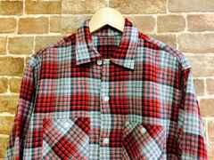 実寸M/L!50's 60's ビンテージ チンストラップ付 ネルシャツ 古着 ロック ロカビリー