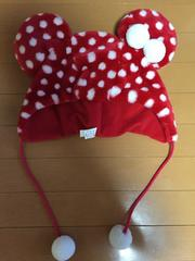 ディズニーランド購入☆ミニーちゃんモコモコ帽子☆赤☆ドット柄