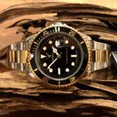 最安値!ロレックス・サブマリーナタイプ◇クォーツ メタル腕時計・ブラック×コンビ