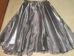 ドレス*光沢チュール*フレアスカート(ダークシルバー)