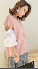 新品、ピンク、袖切り替え、リボン、カットソー