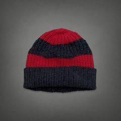 アバクロ メンズ ニット帽 ネイビー×レッド ボーダー