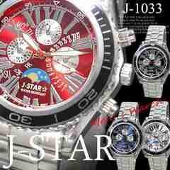 【送料無料】J-starメンズクォーツ ムーンフェイス腕時計レッド