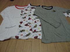 【新品】長袖丸首シャツ8分袖3枚組140�p