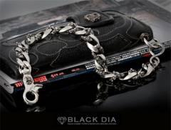 正規BLACK DIA クロム × クロスショート ウォレットチェーン